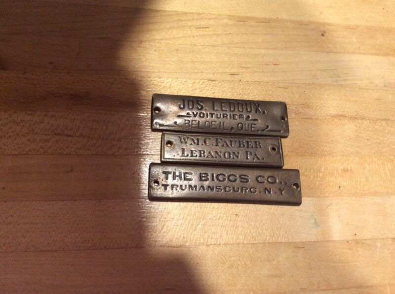 Brass Name Tags - Name Plate - Carriage- Farm - Quebec- PA - NY