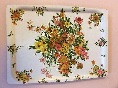Vintage Retro Kitsch Floral Melamine Tray 60s 70s