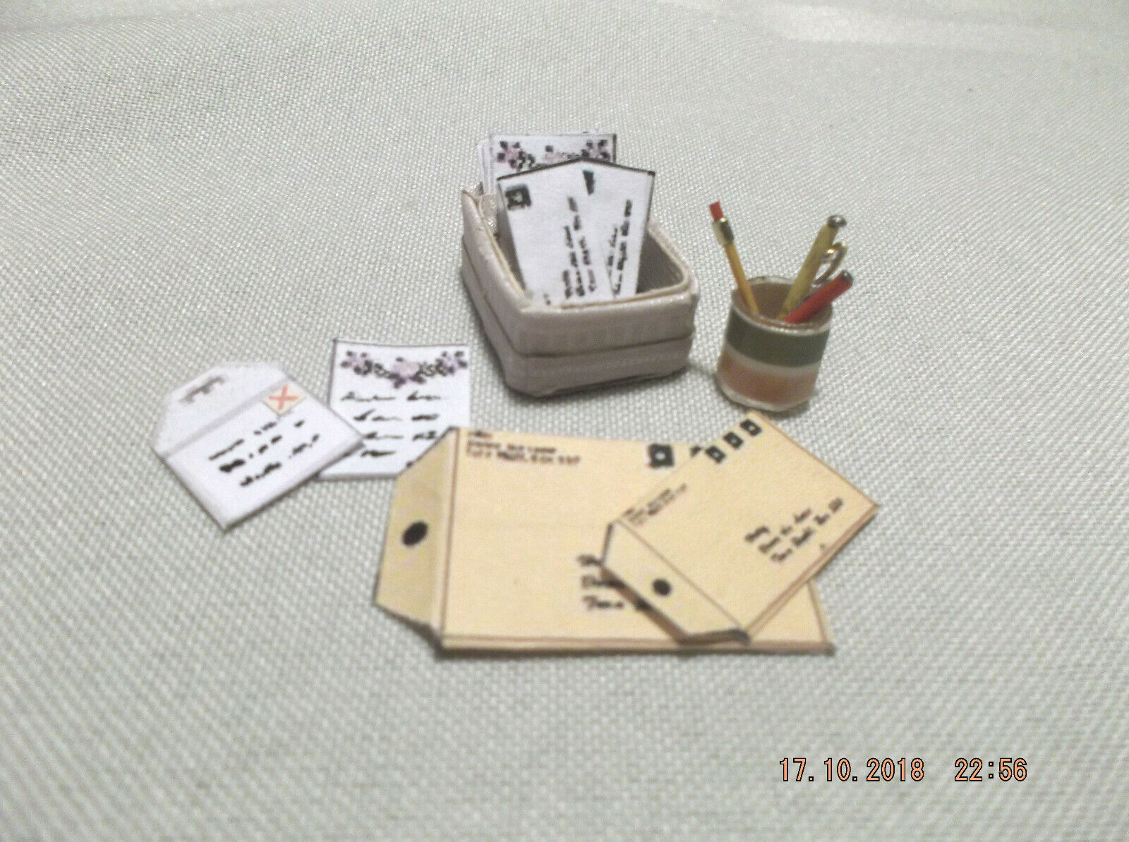 Dollhouse Miniature Handcrafted Stationary Box With Stationary, Pens, And Pencil - $9.00