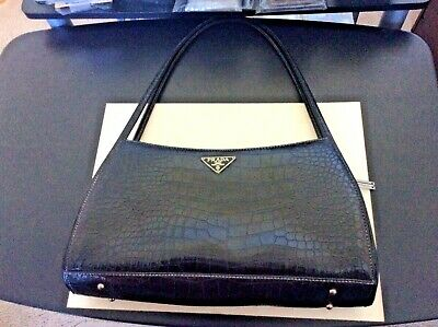 Prada Milano Alligator Leather Black Shoulder Bag Purse Italy
