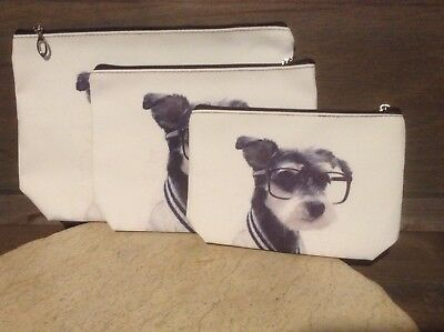 YORKIE DOG Set of 3  Zippered Travel Make up Bags Pouch NEW WHITE AND BLACK
