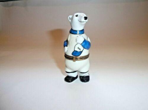 Peint Main Limoges Trinket-Polar Bear In Baseball Uniform