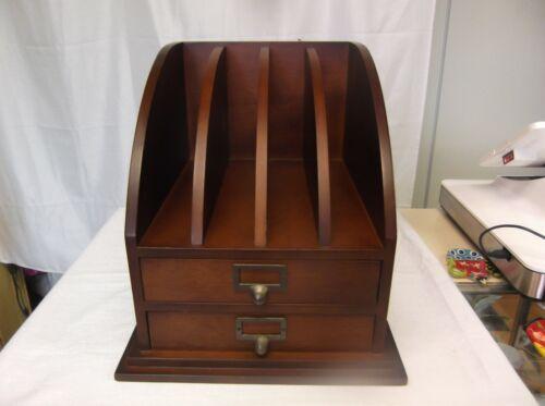 Vintage Solid Wood File Desk Organizer