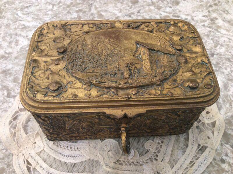Antique Vtg French Trinket Box Casket Ormolu gold color Footed Key