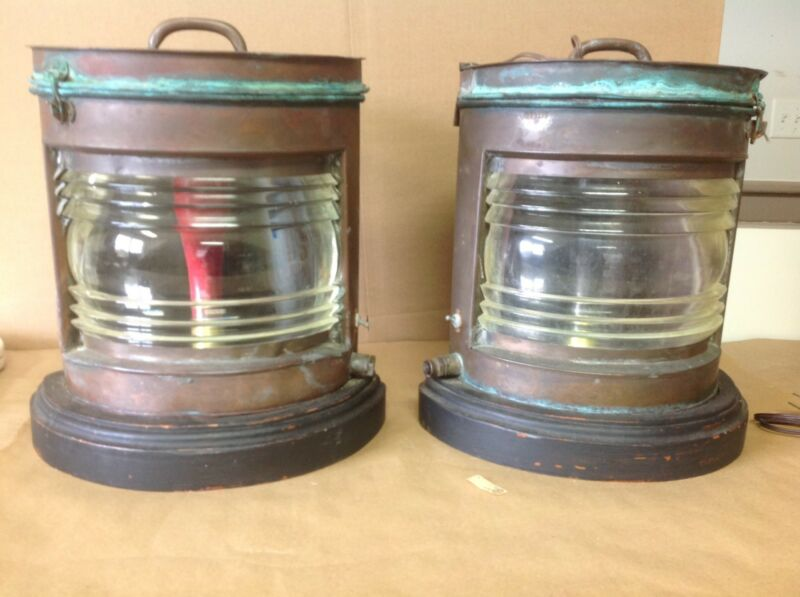 Pair Of Large Copper Ships Running Lights