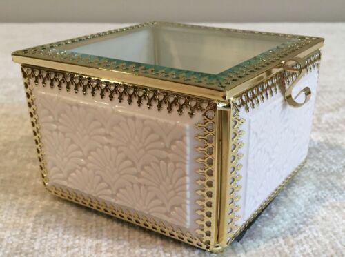 Beveled Glass, Brass and Ceramic Box -Trinket Jewelry - Square Mirror Bottom