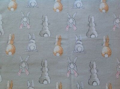 ~FLANNEL~Rabbits~Bunny~Grey~Quilting Fabric~Childrens Flannelette~Baby~Girls~FQ~, used for sale  Shipping to Canada