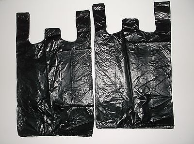 1000 Ct Plastic Shopping Bags T Shirt Type Grocery Black Medium 18 Size Bags.
