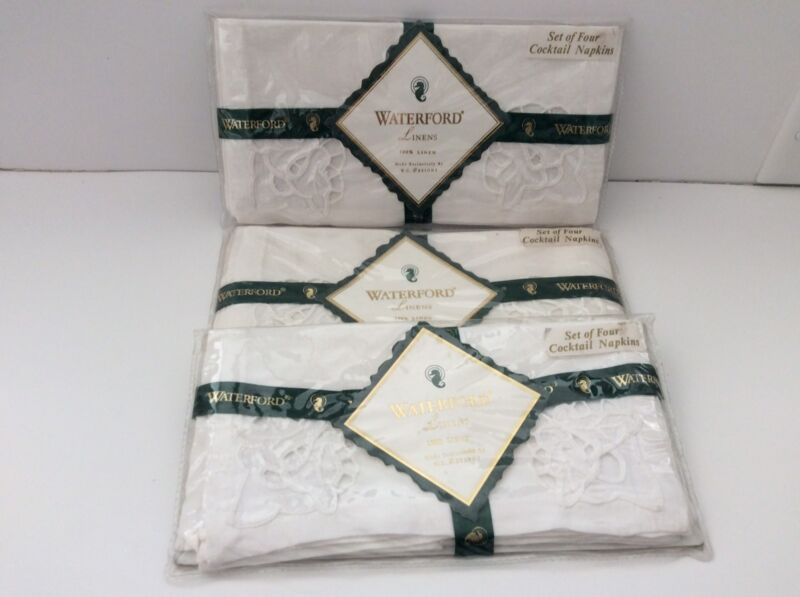 12 White Linen Cocktail Napkins Waterford 3 Packs of 4