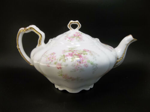 Antique Charles A Limoges Depose France Porcelain Pink Flowers Daisy Tea Pot