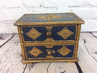 VINTAGE MINIATURE CHEST OF DRAWERS PAINTED & GILDED  WOOD, FREE UK DELIVERY