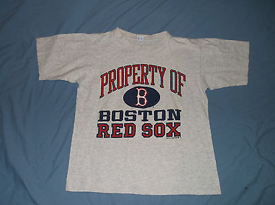 Vtg 80 S Property Of Boston Red Sox T Shirt Gray Med Cotton Mlb Baseball