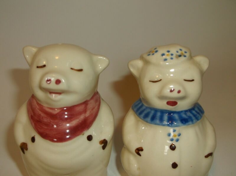 "Shawnee Piggy Salt & Pepper Shakers 3"" USA Vintage FREE SHIP!"