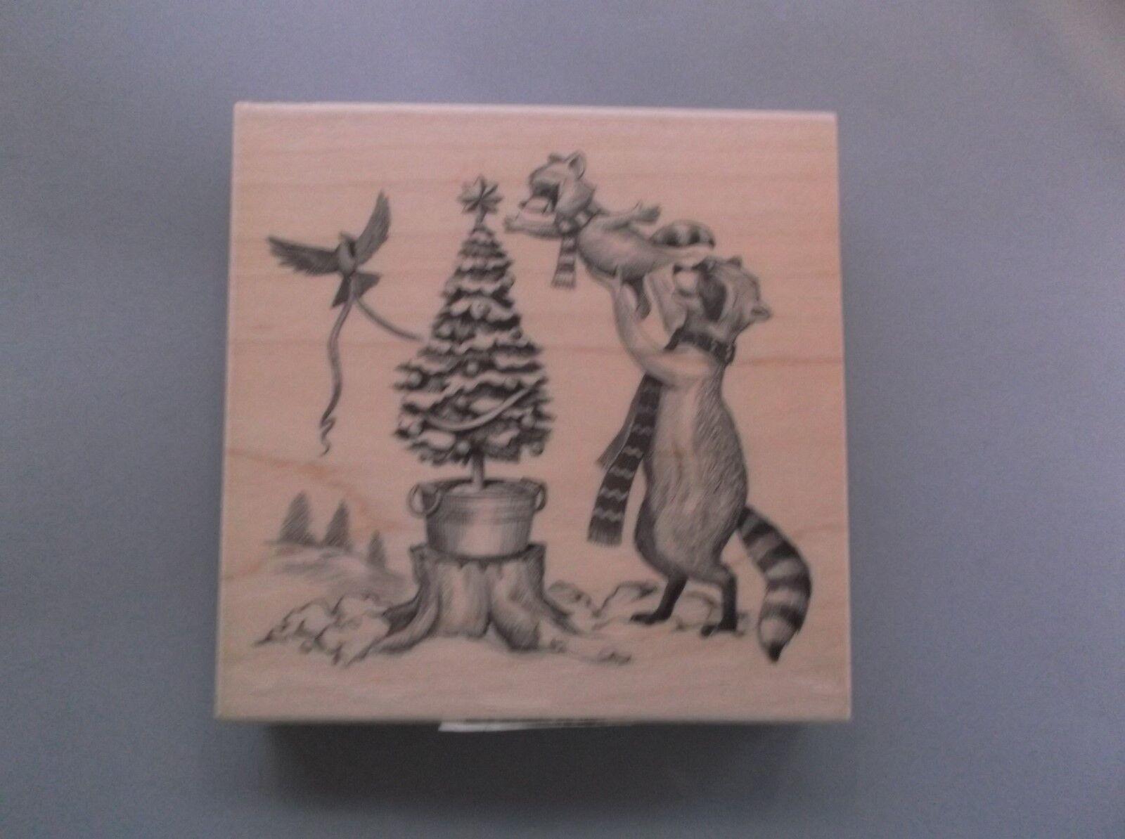 INKADINKADO RUBBER STAMPS RACCOON CHRISTMAS TREE STAMP