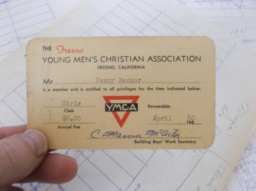 Vintage YMCA Membership Card Central California Girls 1960 Original Collectible