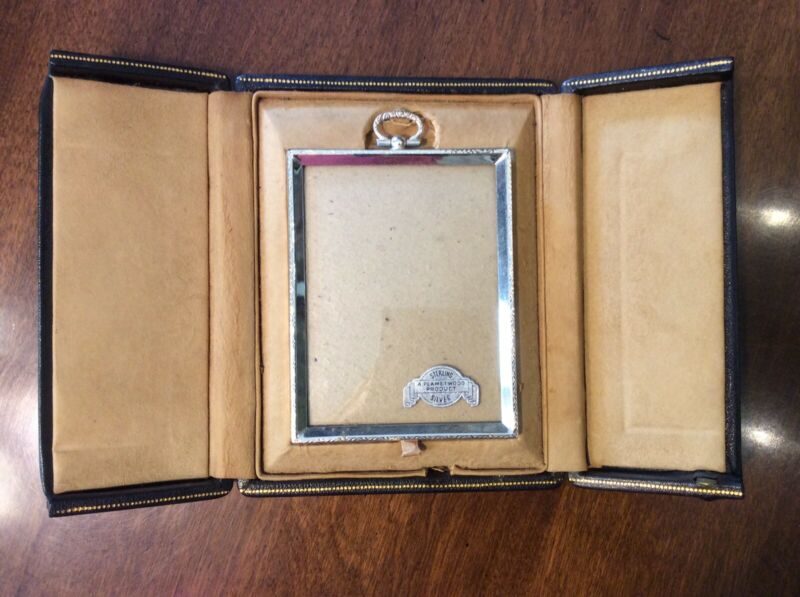 """Vintage Sterling Silver Picture Frame Size 4"""" X 3"""" + Leather Display Box Case"""