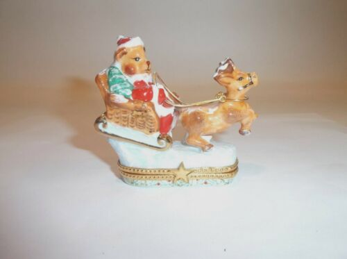 Peint Main Limoges Trinket-Christmas Bear Commanding Santa's Sleigh