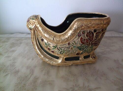 Vtg CLOISONNE SANTA SLEIGH  CHRISTMAS ORNAMENTS—enamel and gold