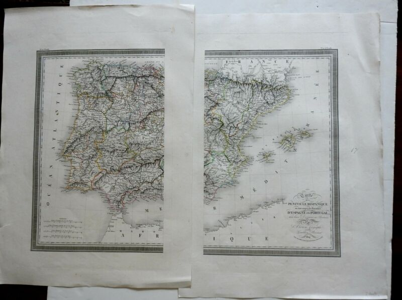 Kingdoms of Spain & Portugal in 2 sheets 1824 Vivien map