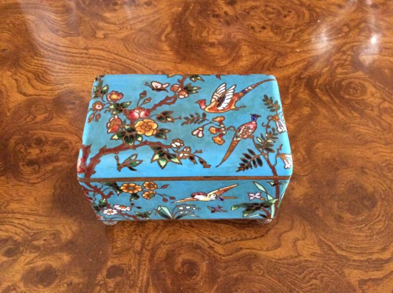 Victorian French Blue Cloisonne Casket/ Jewel Box