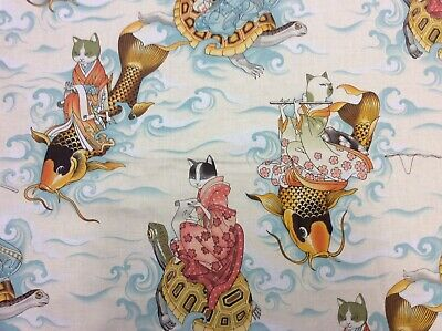 AH278 Asian Fishing Kitty Cats Japanese Style Kittens Cute Cotton Quilt Fabric
