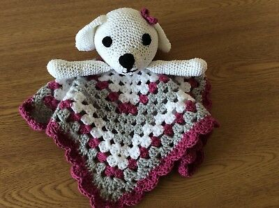 Handmade Crochet Baby Comforter / Security Blanket With Dog