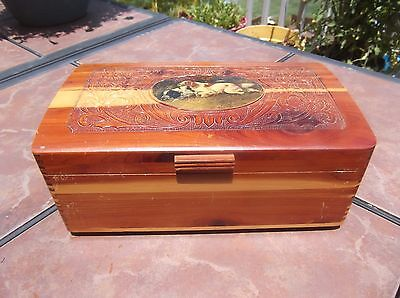 Vintage Cedar Box with Embossed  and Pointer Dog Picture Top