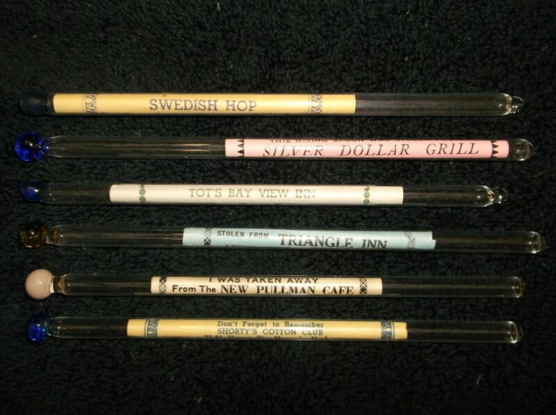 Vintage 6 Glass Advertising Cocktail Swizzle Sticks, New Jersey