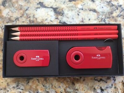 Faber Castell Gift Set 3 Red Grip Pencils Eraser Double Hole Sharpener