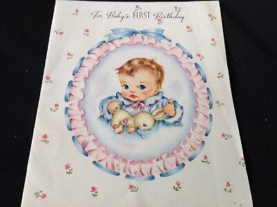 #728 Sweet Vintage 1940s Baby First 1st Birthday Greeting Card Ruffled Cameo Bun