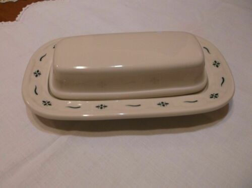 Longaberger Pottery Woven Traditions HERITAGE GREEN 1/4 LB Covered Butter Dish