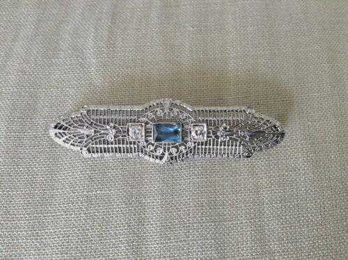 ART DECO 14K White Gold Filigree Aqua+Diamond Bar Pin Brooch 4.02g