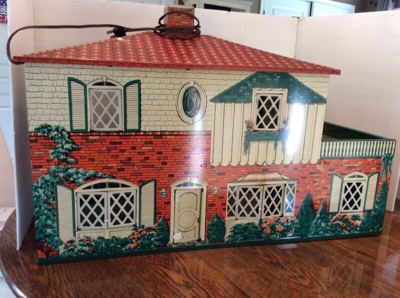 Vintage 1960s Marx Metal Doll House 2 Story