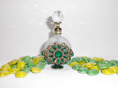 (Elegant Green Decorative Glass Perfume Bottle Beautifully Decorated - BG140)