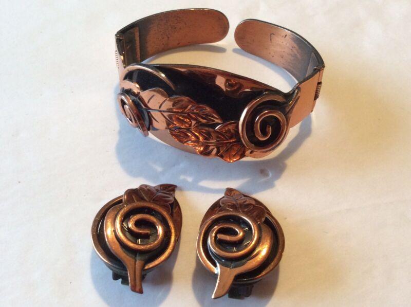 Vintage Copper Tone Leaf Bangle Bracelet With Matching Clip Back Earrings ESTATE