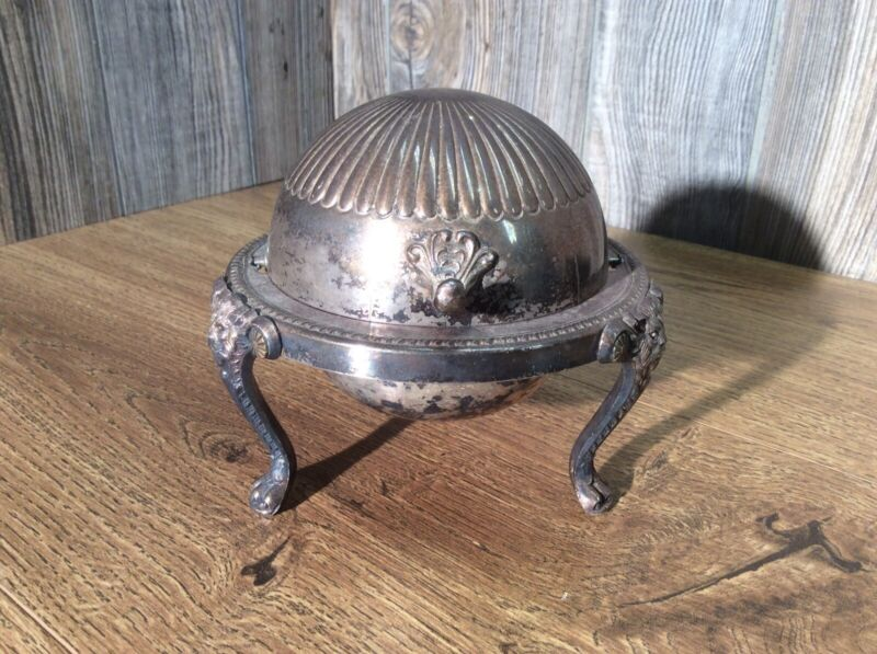 Antique Rogers Silverplate Dome Roll Top Caviar Butter Server G3