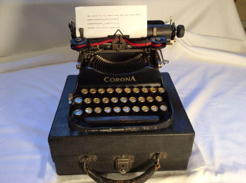 Vintage 1919 Corona 3 Folding Typewriter & Nice Case-Working-nice Paint & Keys