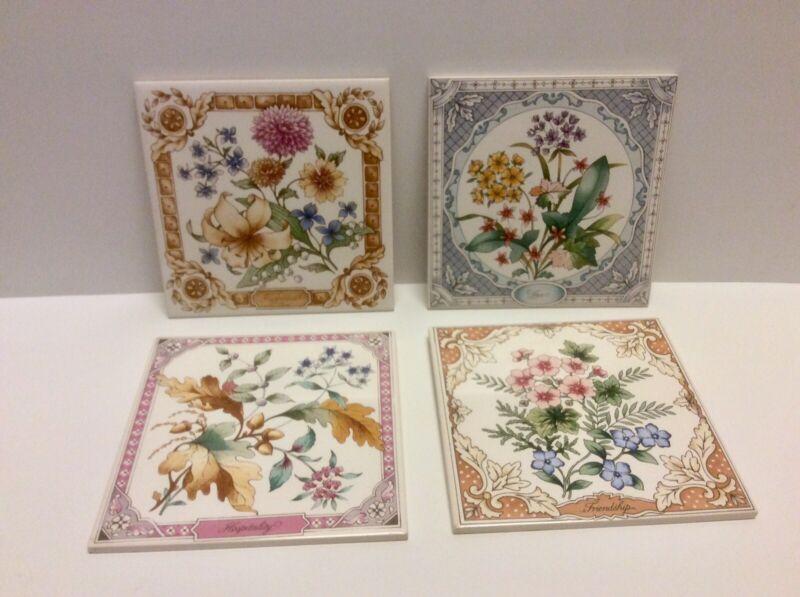 Vintage Avon Set of 4 Ceramic Floral Flower Tiles Made in England 1983