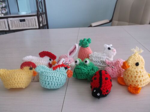 10 Hand Crocheted Easter Eggs - Animals - Covers - Cozies
