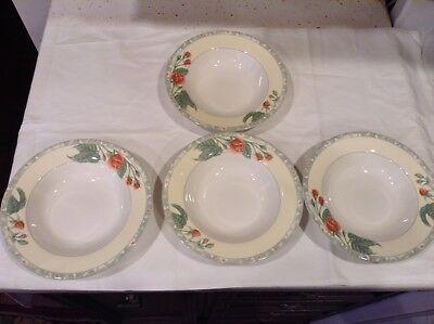 Fine Porcelain Bowls Made In Indonesia Set Of 4 Flower Dishwasher Microwave Safe - Microwave Safe Porcelain Bowls