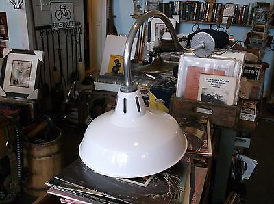 "Vintage Industrial Light on Gooseneck Arm w 14"" White Porcelain Shade Barn Light"