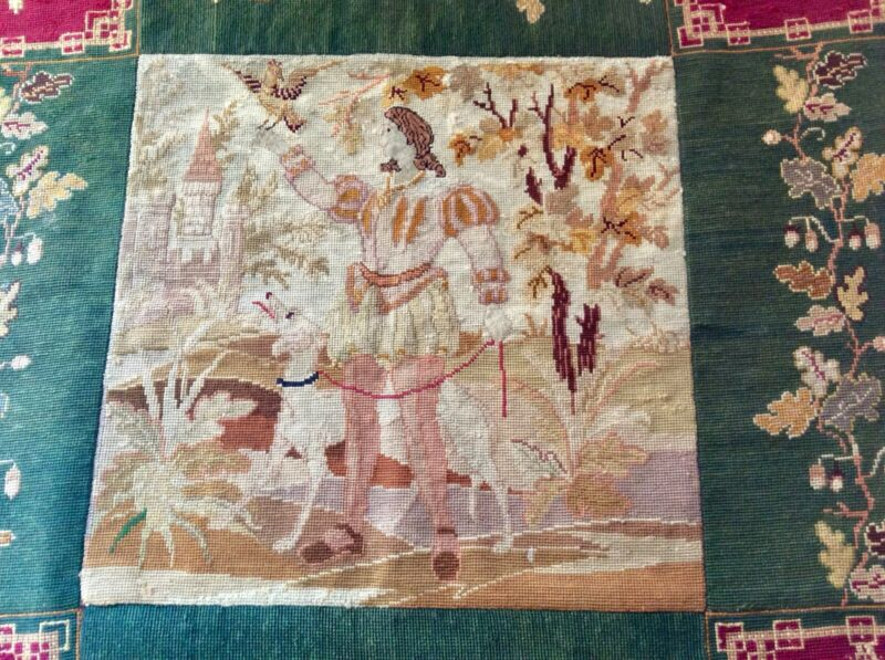 Antique 19thC. French Handmade Tapestry Wall Hanging. Knight, Dog, Hawk, Chateau