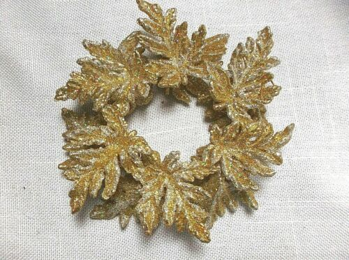 "5"" Gold  Wreath Ornament Glitter Plastic Acrylic  Leaves"