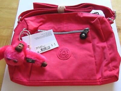 Kipling Wes Shoulder Small Cross Body Purse- vibrant pink -Emmy monkey