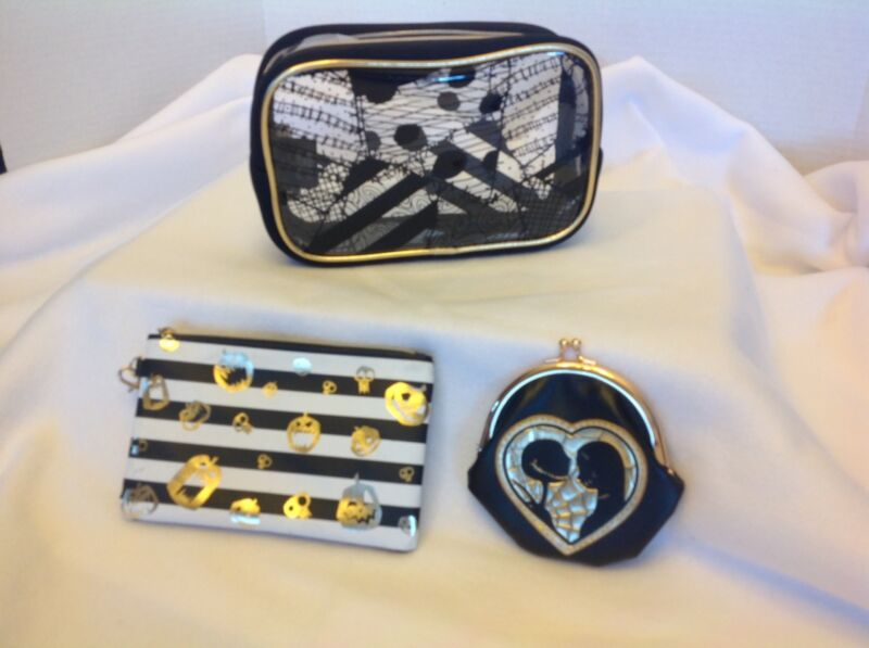 Nightmare Before Christmas 3piece Makeup Bag Black And Gold