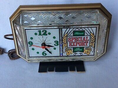BEAUTIFUL Special Export Beer Clock lighted crystal cut glass Cash Register Vntg