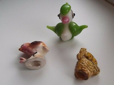 Contemporary Miniature Group of Birds Pottery & Glass