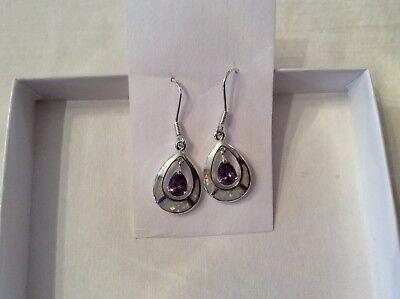 (Sterling Silver stamped 925 ~ hook drop dangle earrings ~ Amethyst CZ ~ 1.5