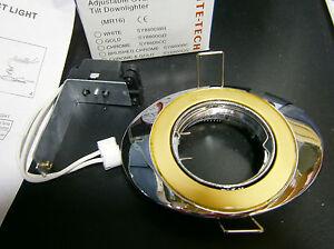 Lite-tech Adjustable Oval Tilt Die-Cast Downlighter - Polished Chrome & Gold