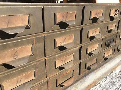 Vintage Lyon Industrial Heavy Metal 24 Drawer File Storage Cabinet - Very Good
